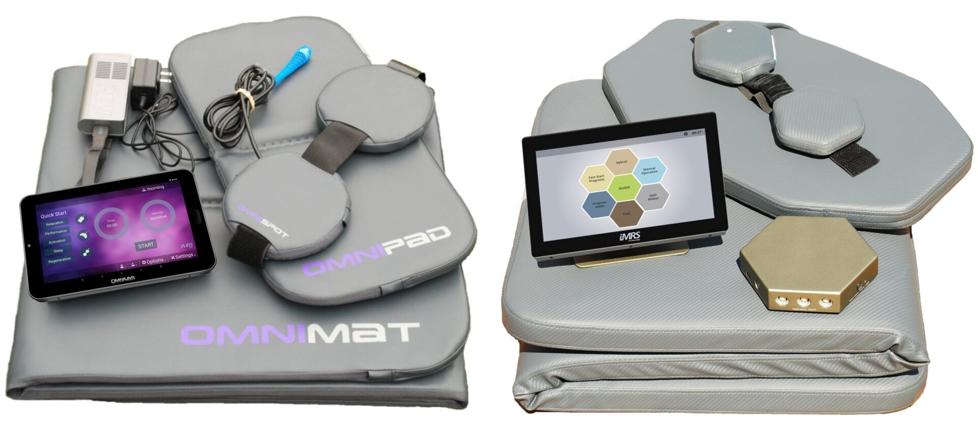Side by side tri- fold picture of the Omnium 1 2.0 and the iMRS prime- PEMF Health Inc.